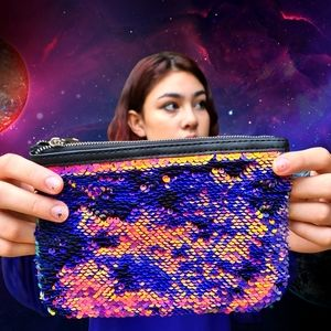 Colourful Sequins Rectangle Wallet Wristlet Small Pouch Zip Closure